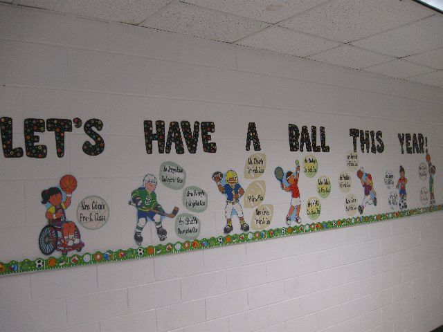 Materials: big cut-outs of children playing sports, ball cut-outs, letters    Description:    To welcome back all of the students for a new school year I put this bulletin board in the hallway in front of the gym doors. I chose a different cut-out of a children playing a sport for each grade and made a large ball (or puck) for each homeroom class in that grade. Grades were grouped in ...