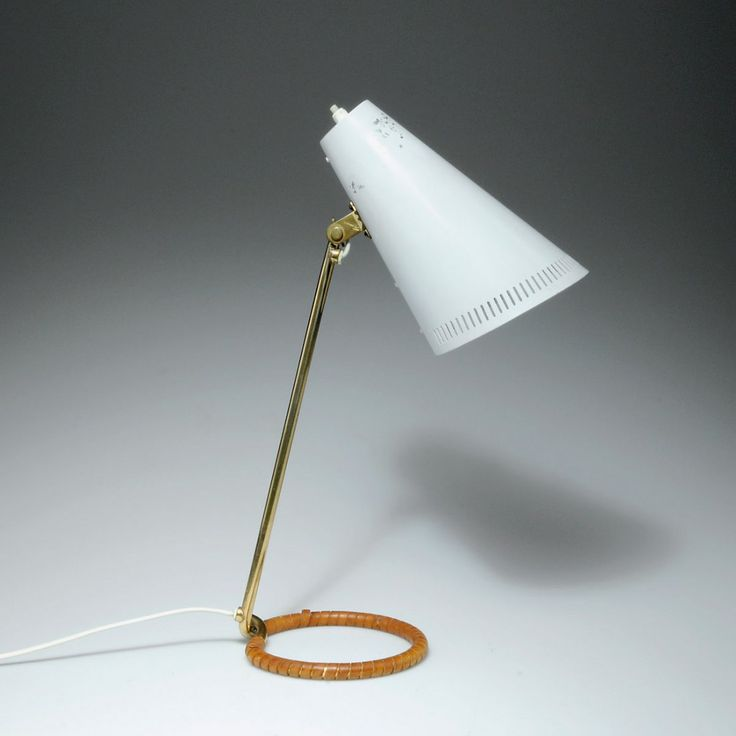 Mauri Almari; Brass, Enameled Metal and Leather Table Lamp for Idman Oy, 1950s.