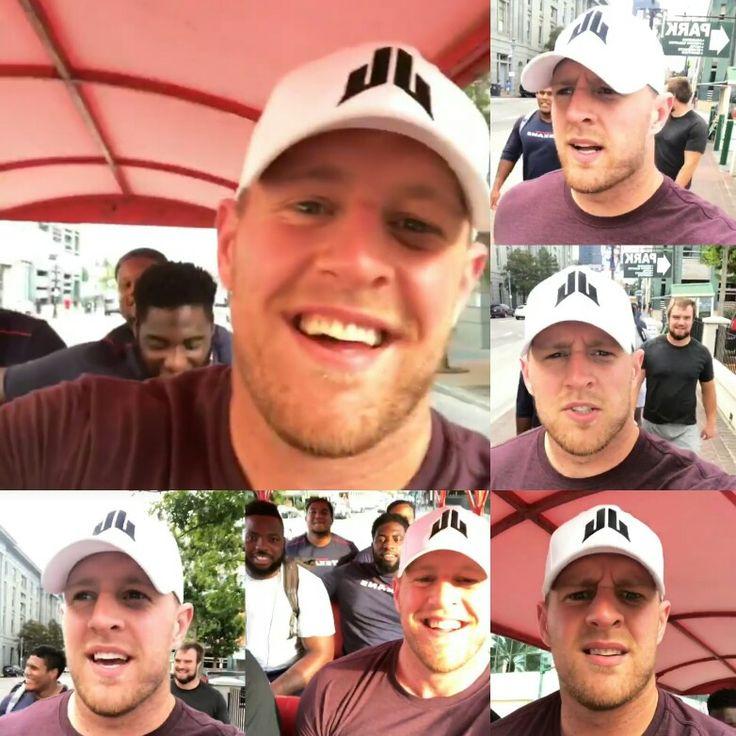 JJ Watt's Instagram - 8.24.17 - NOLA - JJ & Squad - Beignet Hunt - #MissionAccomplished #DreamBigWorkHard #HuntGreatness #JustAKidFromPewaukee #Justincredible