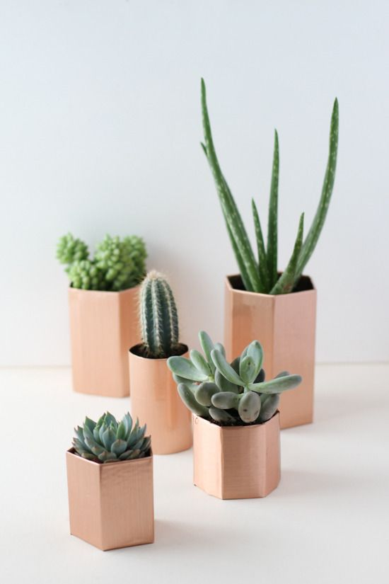 Make It: DIY Metallic Geometric Planters in 5 Minutes by Brittni Mehlhoff » Curbly | DIY Design Community