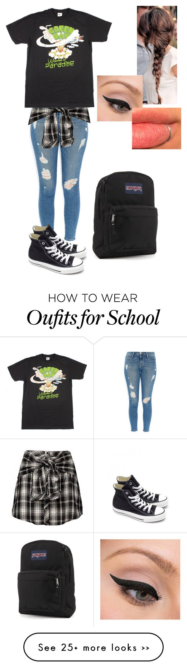 """My First Day of School Outfit"" by jigglypuff-irwin on Polyvore featuring Frame Denim, Converse, LORAC and JanSport"