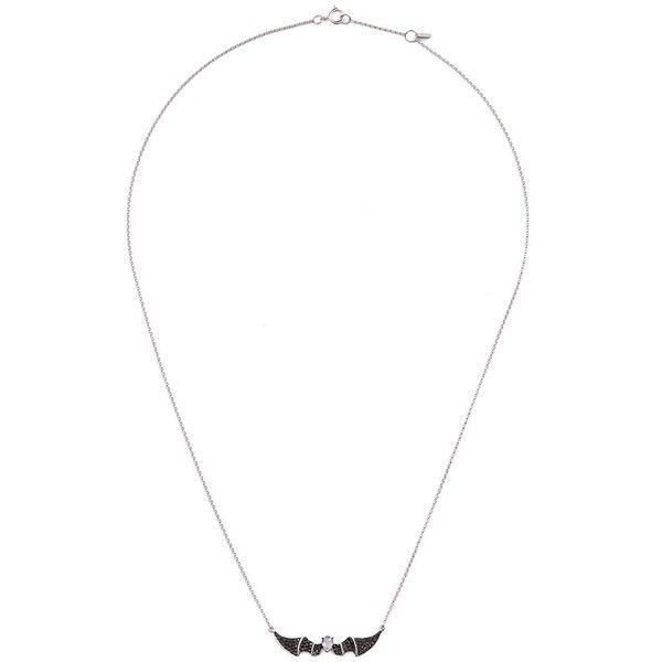 Bao Bao Wan 'Alto' black diamond sapphire 18k white gold bat pendant... ($985) ❤ liked on Polyvore featuring jewelry, necklaces, metallic, black diamond pendant necklace, white gold necklace pendant, white gold pendant, white gold pendant necklace and white gold chain necklace