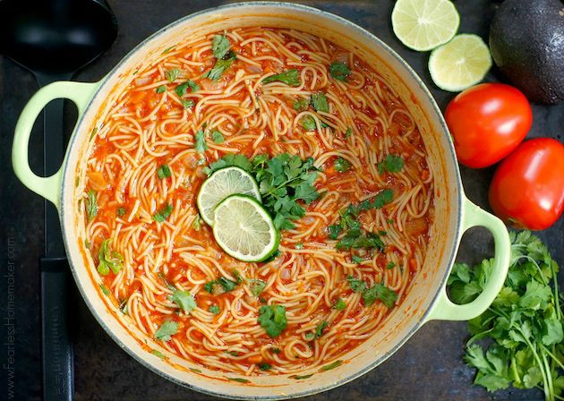 Sopa de Fideo (Mexican Noodle Soup)- A bright, hearty, citrusy tomato soup with pasta (fideos), cilantro, lime + tons of flavor!