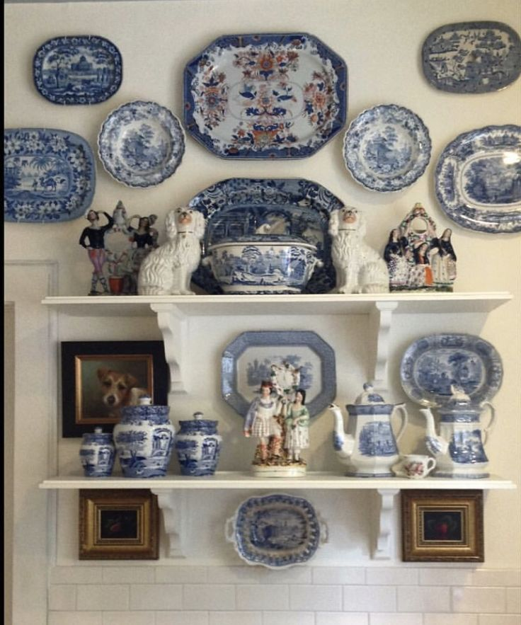 Shelves styled with blue & white - Marsha Mason