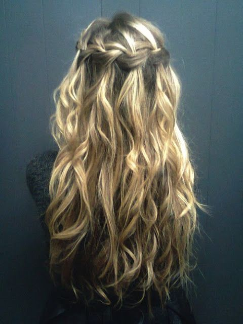 waterfall braid - pretty: Hair Ideas, Waterfalls Braids, Waterf Braids, Wedding Hair, Wavy Hair, Long Hair, Longhair, Hairstyle, Hair Style
