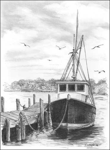 """""""Boat Dock"""" by Diane Wright. He is a master of pencil drawing. He draws still life, landscape, buildings, and etc."""