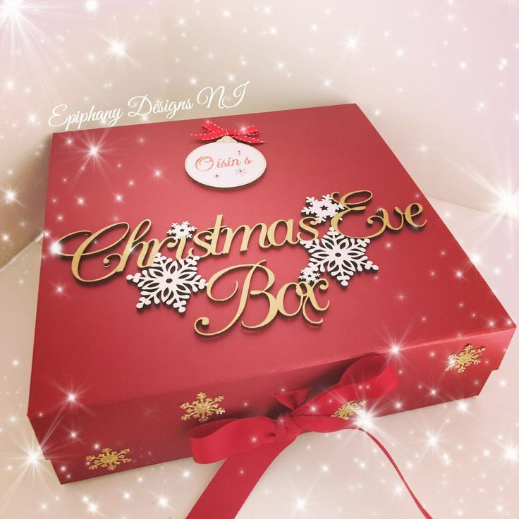 Personalised Christmas Eve Box with glitter bauble (Vintage font)  By Epiphany Designs NI