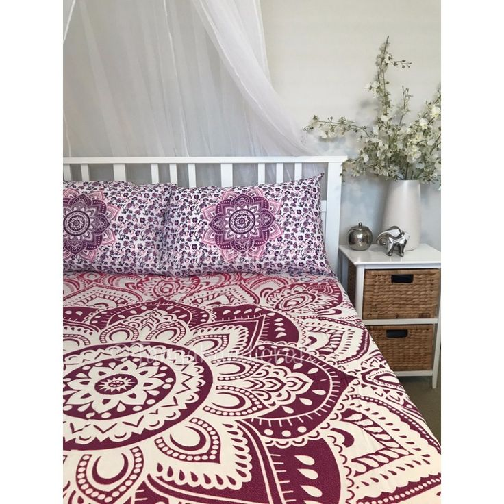 Handmade indian cotton fabric pink ombre mandala king size quilt cover