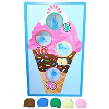 "Check out this SWEET Carnival Game perfect for almost any kids event! This colorful, wooden Ice Cream Bean Bag Set includes  five 2 1/2"" bean bags and one 22 3/4"" x 13 1/2"" board. The board stands up with a 19 1/2"" pole stand that sets up in less than one minute and you are ready to play!"