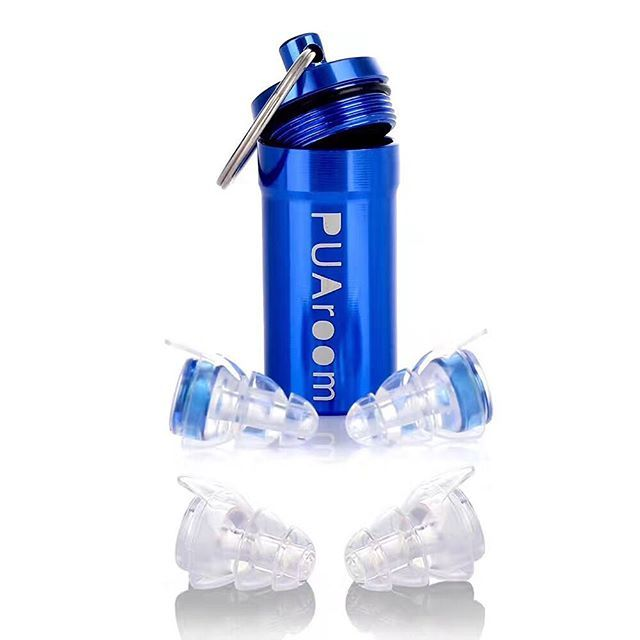 PUAroom High Fidelity Ear Plugs Noise Filtering Hearing Protection With 2 Different Size Reusable #Earplugs to Reduce Noise Evenly to Protect Your Ears While Enjoying the Best Sound Quality for #Musicians/#Drummers/#Riders/ #Concerts/#Travel/#festival/#Sports #musically Daily Needs (Blue)