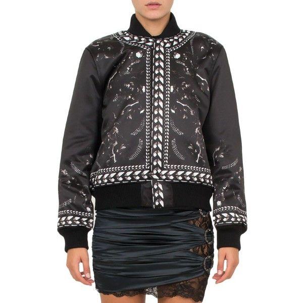 Givenchy Panther-Print Duchesse-Satin Bomber Jacket (14.140 DKK) ❤ liked on Polyvore featuring outerwear, jackets, nero, black white jacket, blouson jacket, bomber jacket, givenchy jacket and patterned bomber jacket