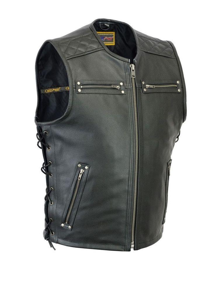 DS145 Men's Zipper Front Single Back Panel Concealed Carry Vest
