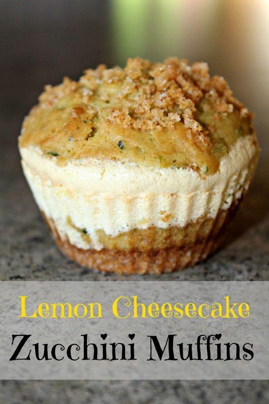 Lemon Cheesecake Zucchini Muffins Recipe #Delicious! breakfast dessert cupcakes