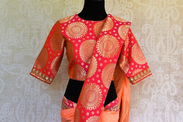 Buy peach sari online in USA with Banarasi embroidered border and blouse from Pure Elegance. Our store brings you beautiful woven Indian sarees online for women.-pallu