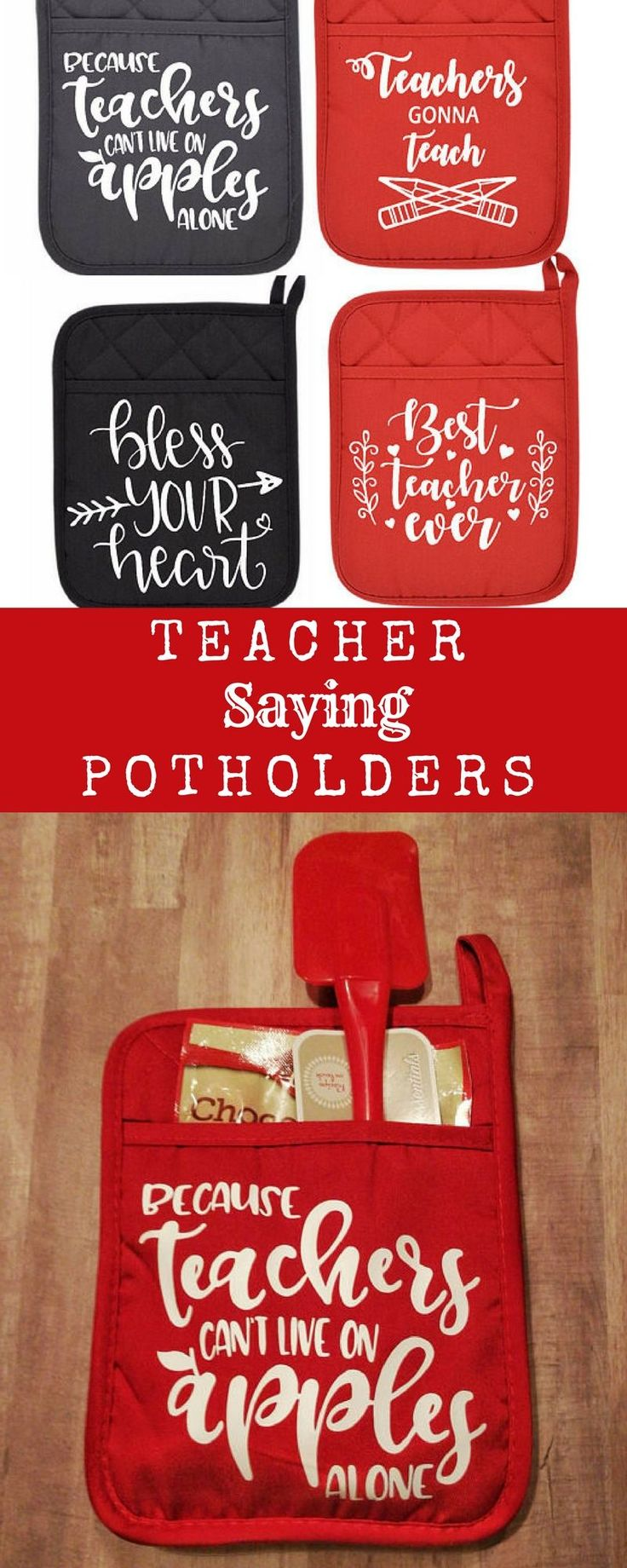 Teacher Saying Pot Holders WITH MIX and SPATULA- teacher gift-teacher pot holders with saying-teacher valentines gift, class valentine #ad #teacherappreciationgifts