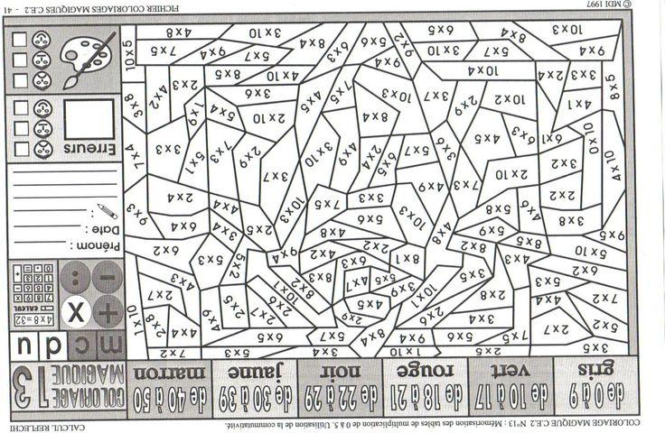 17 meilleures id es propos de coloriage magique multiplication sur pinterest tables de - A portee de maths cm2 en ligne ...