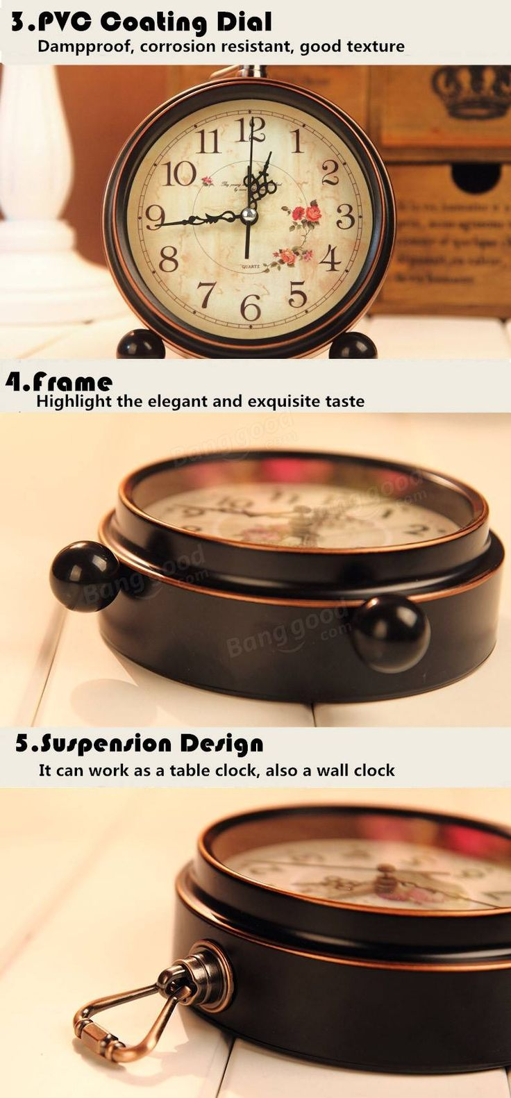 Reloj de la vendimia aralm reloj de pared Mesa de estilo retro rural casa reloj decorativo decoración