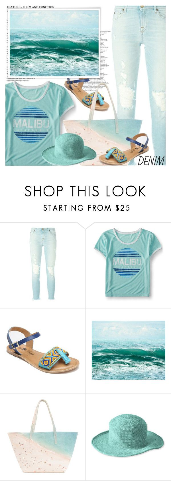 """""""Dream Jeans Dream Beach!"""" by shoaleh-nia ❤ liked on Polyvore featuring 7 For All Mankind, Aéropostale, Penny Loves Kenny, Paige Gamble and San Diego Hat Co."""