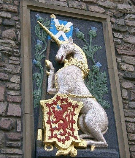 Unicorns are quite popular in heraldry where, like this Scottish unicorn, they are usually shown with a broken chain indicating that although once captured they are now free. The heraldic unicorn is a horse with the cloven hooves and beard of a goat, a lion's tail, and the traditional single spiral horn on its forehead.