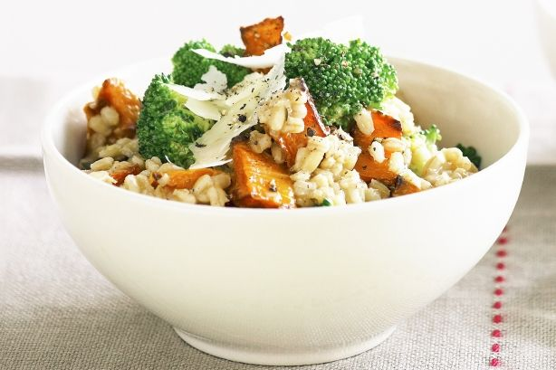 Roasted pumpkin & broccoli with barley risotto