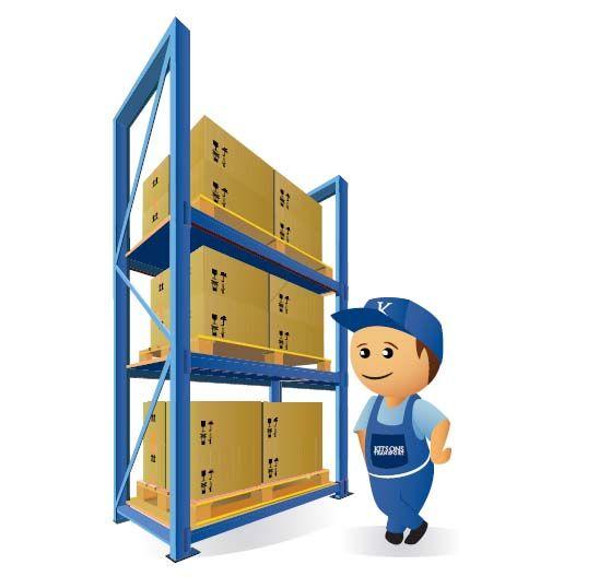 Removal man next to storage shelves