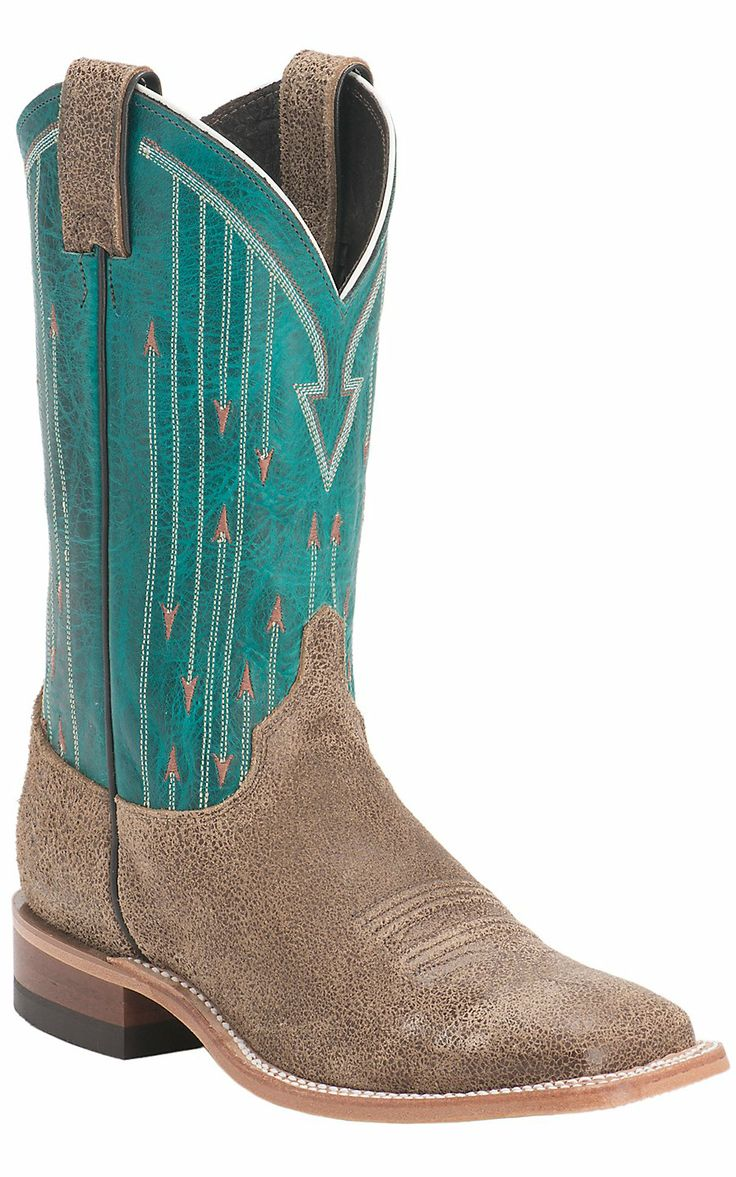 Justin® Bent Rail Women's Vintage Tan with Teal Top Double Welt Square Toe Western Boots