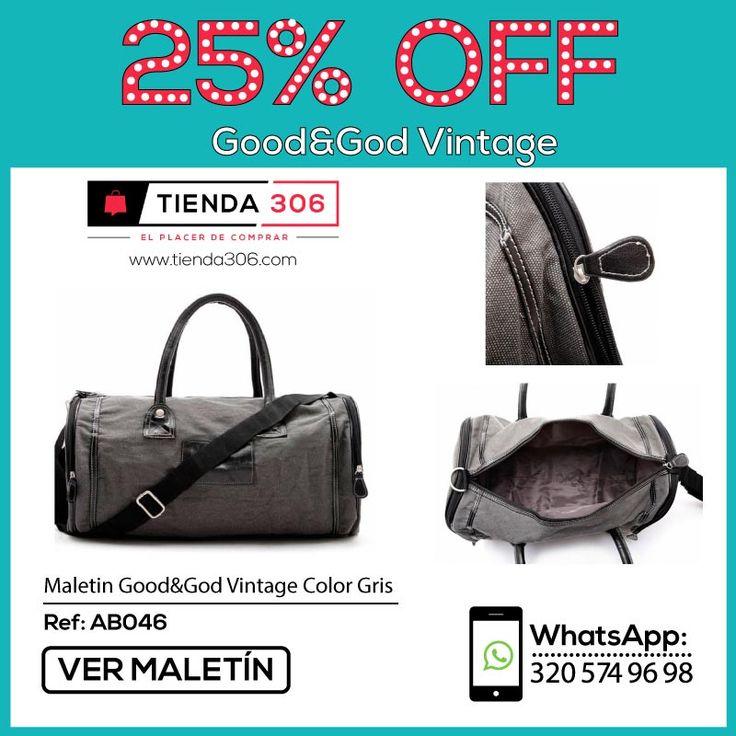 Lleva tus pertenencias con comodidad y seguridad - Maletín Good&God Vintage Gris Ref.: AB046 📞 320 574 96 98 Ver Maletín:  http://bit.ly/2j1l9tg