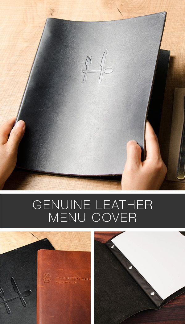 Real genuine leather menu covers. With screws or ringbinder. Black or Brown