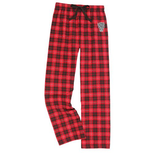 NC State Wolfpack Youth Red/Black Plaid Flannel Pajama Pant