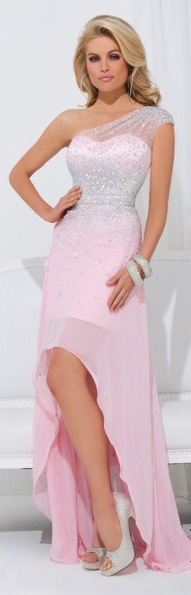 Tony Bowls Aqua Pink One Shoulder High Low Gown