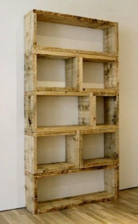 Bookshelf made of crates