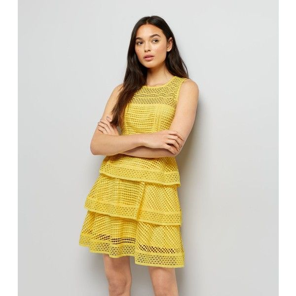 New Look Yellow Premium Tiered Lace Dress ($40) ❤ liked on Polyvore featuring dresses, yellow, petite lace dress, yellow lace dress, tiered dresses, petite formal dresses and lace formal dresses