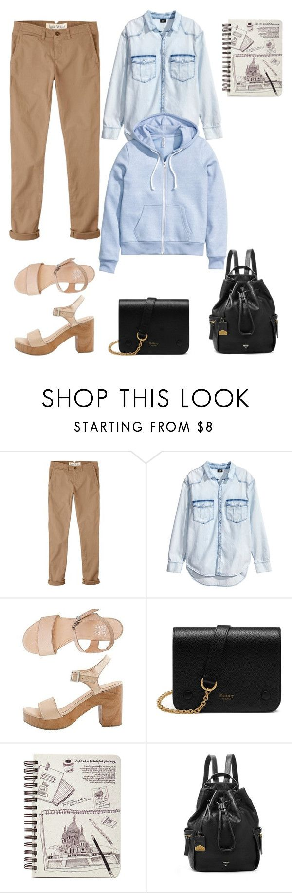 """""""бежевые джинсы"""" by anjasha ❤ liked on Polyvore featuring Jack Wills, H&M, American Apparel, Mulberry and FOSSIL"""