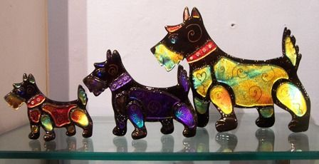 Dichroic fused glass Scotty Dogs