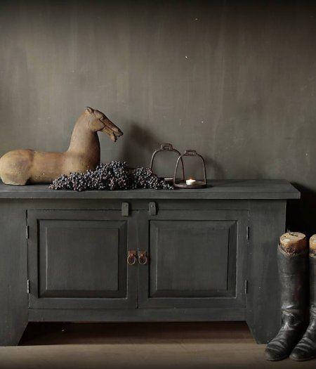Laag mat zwart tv/dressoir kast