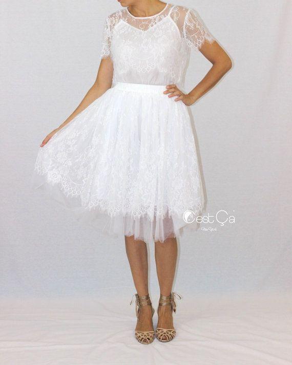 Brigitte  Bridal Tulle Lace Skirt White Tulle Skirt by CestCaNY