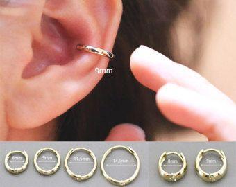 Cartílago de oro 14K aro cartílago de pendiente de pendiente aro/Helix piercing cartílago pendiente/concha empalme/Rook piercing piercing/apretado/Daith