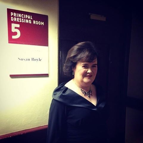 Susan boyle stands outside dressing room before performing for Door 8 albert hall