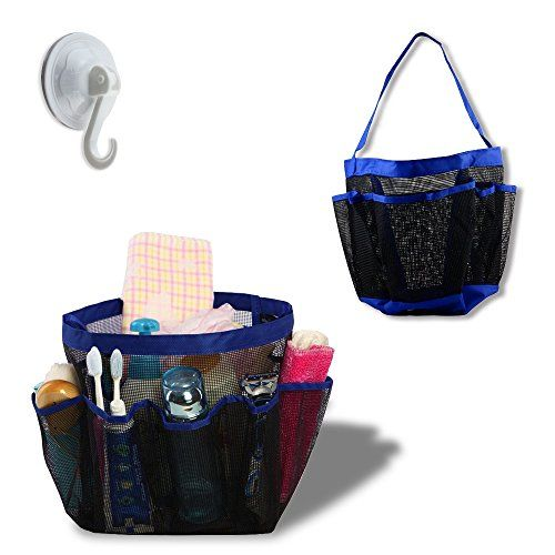 Bathroom Organization: Portable Collapsible Shower Tote with 9 Pocket Storage, Mesh Shower Caddy, Bath Organizer - Perfect for College Dorm, Pools, Gyms, Beaches, Bathrooms, Shower, Portable Collapsible Shower Caddie -- You can find more details by visiting the image link.