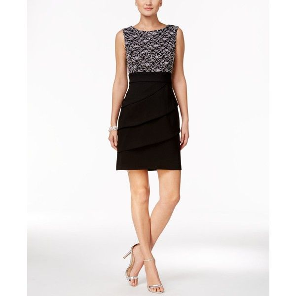 Connected Petite Tiered Sequined Sheath Dress ($65) ❤ liked on Polyvore featuring dresses, lace cocktail dress, white sequin cocktail dress, lace formal dresses, formal cocktail dresses and sequin dresses
