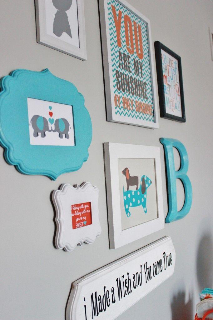 Project Nursery - Gray Striped Orange and Aqua Nursery Gallery Wall
