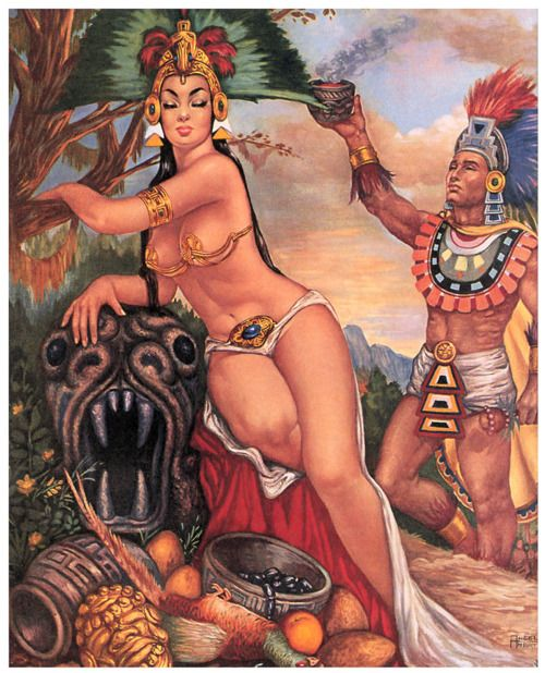 Aztec Queen ~ Beautiful Mexican illustration mexican vintage calendar print
