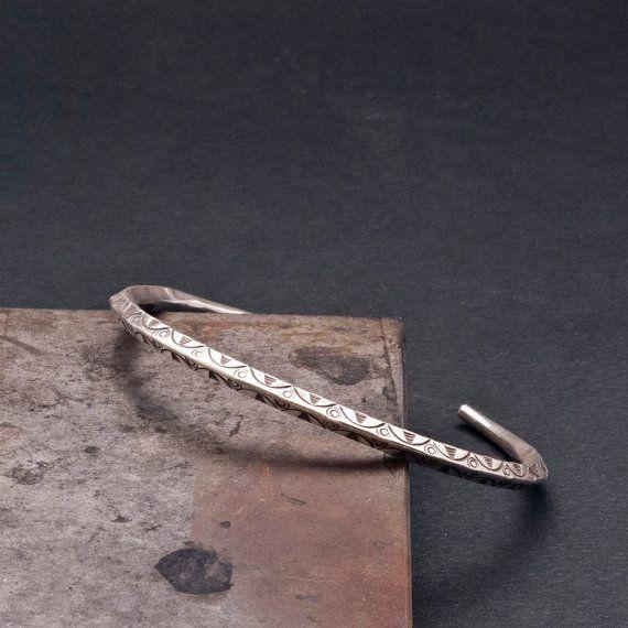 Silver Cuff Bracelet Men/Women Stacking Bracelet by SunSanJewelry