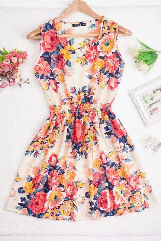 nieuw merk 2015 zomer vrouwen jurk casual mouwloze chiffon streep print jurk bloemenprint strand jurken bohemien elastiek in de taille in &nbs van Jurken op AliExpress.com | Alibaba Groep