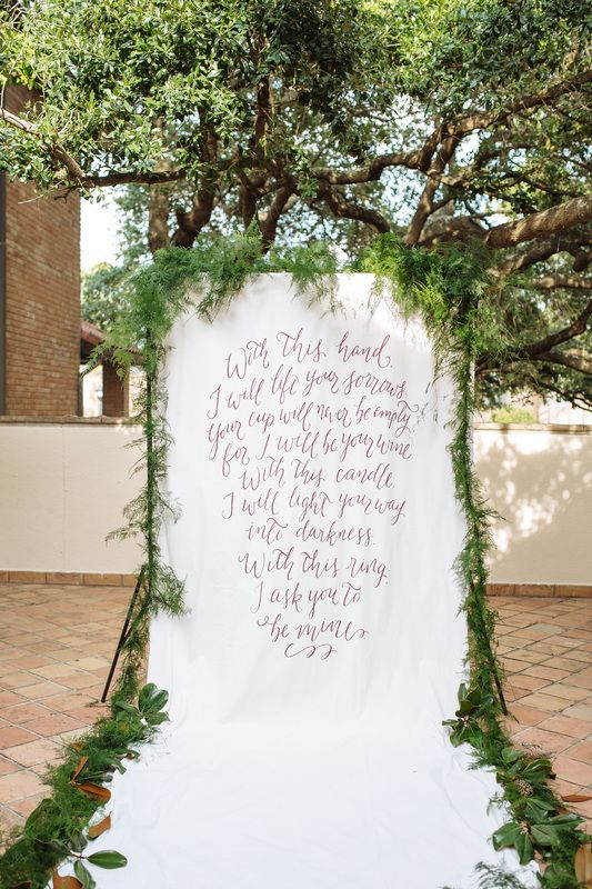 Wedding Invitations, Calligraphy, & Backdrop: Artful Designs by Rachel Nieman / Photography & Stylying: Smith House Photography / Event Design: Paige Kristian Planning / Florist: Arteflora Design / Wedding Cake & Styling: Whisk Bakery / Linens & Chargers: What's the Occassion Event Rentals / Flatware: Anthropologie / Venue: The Gallery Houston / Wedding Dress, Veil, & Earrings: BHLDN