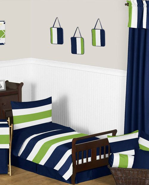 Modern White Navy and Lime Stripe Toddler 5 Piece Bedding Set by Jojo perfect for your little man.