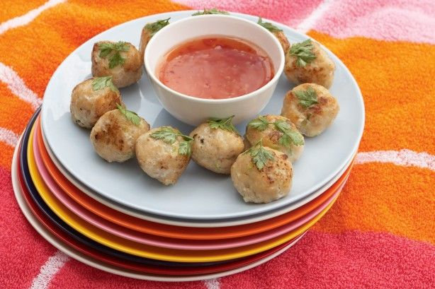 Kids can take the plunge with these fish balls - right into a pool of sweet chilli sauce.