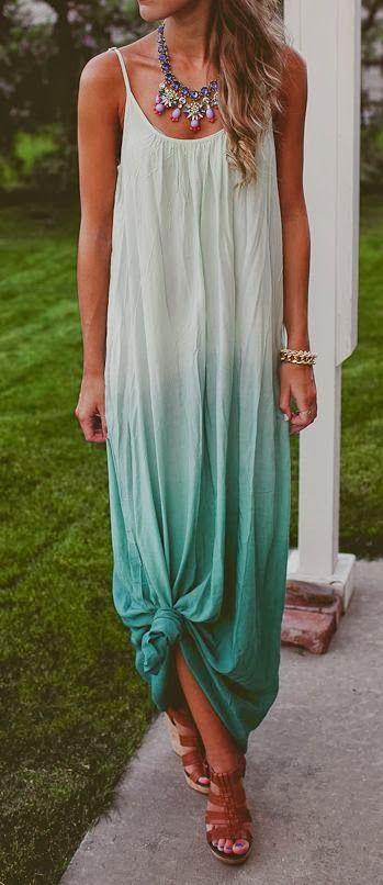 Adorable mint casual thin strap long maxi dress