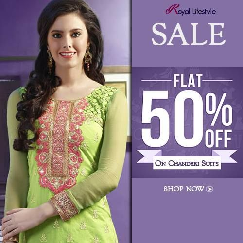 SALE SALE SALE !! All set to get the best ethnic dress for you @ flat 50% OFF on ‪#‎Chanderi‬ ‪#‎Suits‬