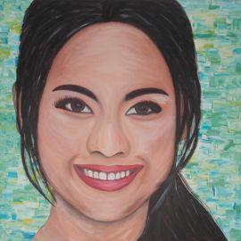 Modern schilderij van een Aziatische vrouw; het gezicht van de Seven Eleven in Thailand.